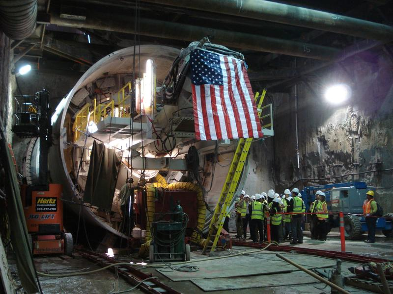A tunnel boring machine in San Francisco's Central Subway tunnel