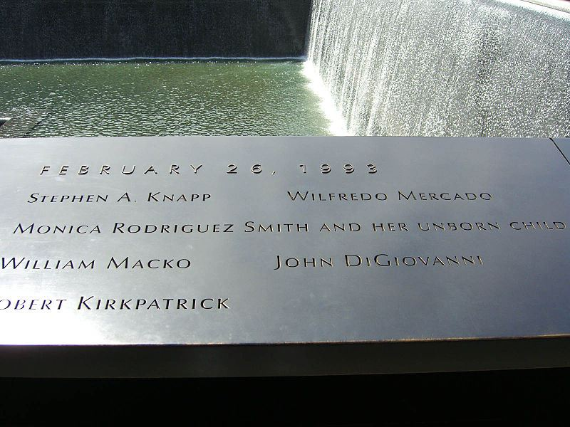 9/11 Memorial  with six names of those killed in the 1993 World Trade Center bombing.