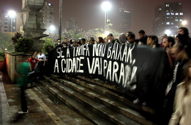 Protesting a bus fare hike in Brazil