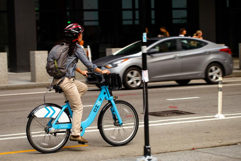 A Divvy bike share bike in Chicago