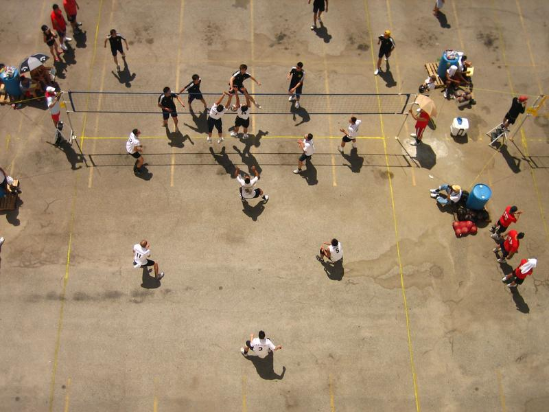 9-Man teams compete during Labor Day weekend in a parking lot in Los Angeles' Chinatown, 2009.