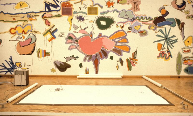 Harold Cohen exhibition at the San Francisco Museum of Art, mural from AARON images, 1979