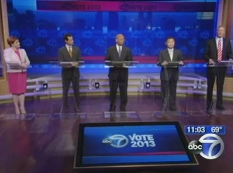 Democratic candidates on stage at the ABC7 debate held Wednesday night in New York City.