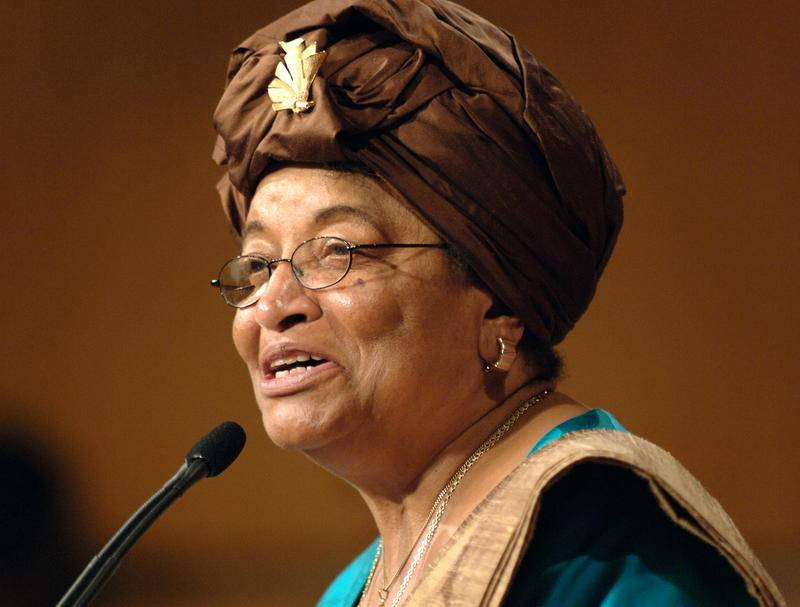 In this Sept. 18, 2006 file photo, Liberian President Ellen Johnson Sirleaf, addresses the audience at the Kennedy School of Government at Harvard University.