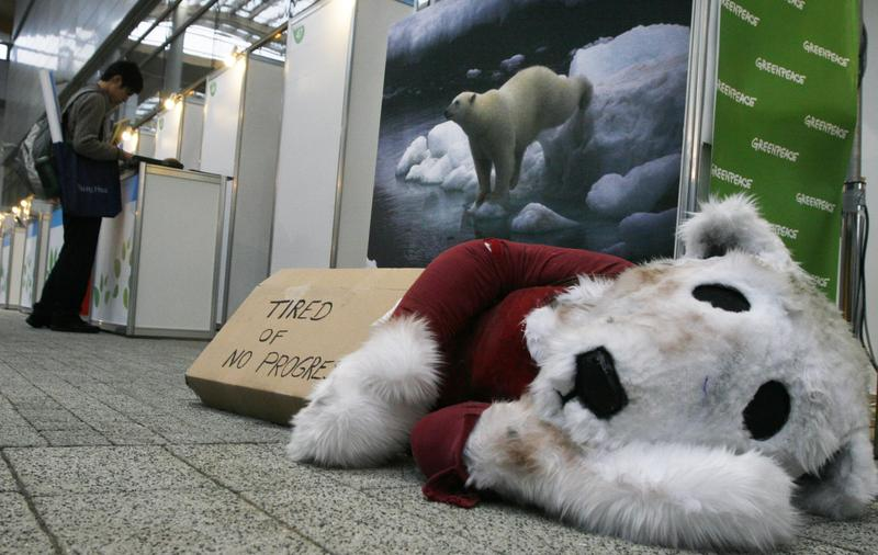 "A plush polar bear lies on the floor in front of a sign that reads ""Tired of no progress"" at U.N. climate change talks in Poznan, Poland, Friday, Dec. 12, 2008."