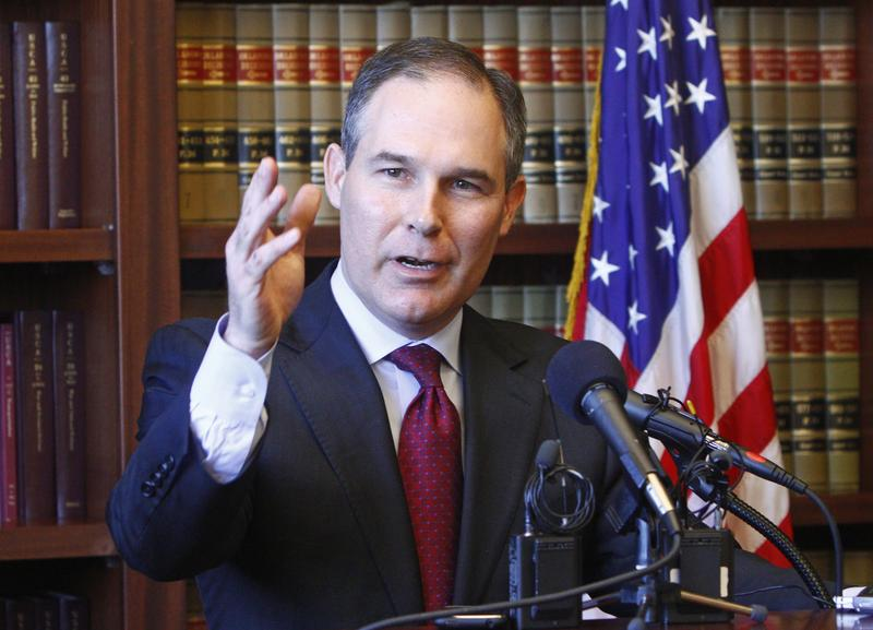 Oklahoma Republican Attorney General-elect Scott Pruitt speaks at a news conference in Oklahoma City, Friday, Jan. 7, 2011.