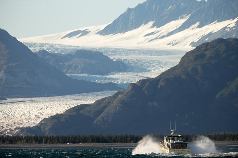 A boat carrying President Barack Obama makes its way to Bear Glacier, which has receded 1.8 miles in approximately 100 years. Sept. 1, 2015, Seward, Alaska.