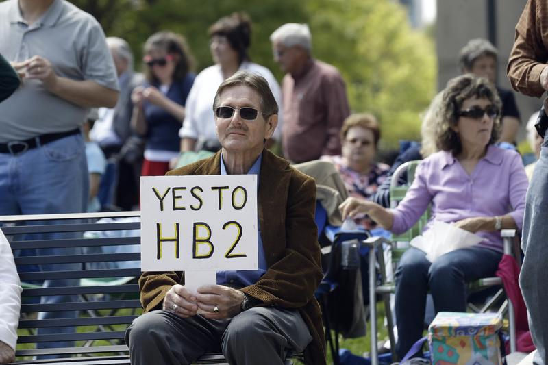 Supporters of House Bill 2 gather at the North Carolina State Capitol in Raleigh, N.C., Monday, April 11, 2016.