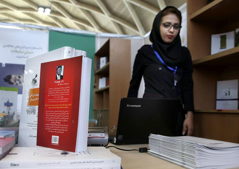 "May 10, 2016: A Persian copy of U.S. presidential candidate Donald Trump's book, "" Trump 101: The Way To Success,"" on display during Tehran's International Book Fair in Iran."