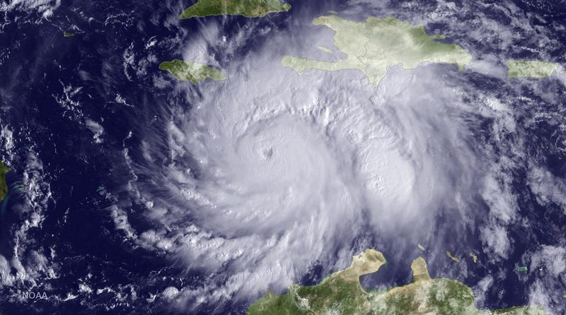 Satellite image by the National Oceanic and Atmospheric Administration (NOAA) taken Monday, Oct. 3, 2016, at 9:15 a.m. EDT, shows Hurricane Matthew about 220 miles southeast of Kingston, Jamaica.