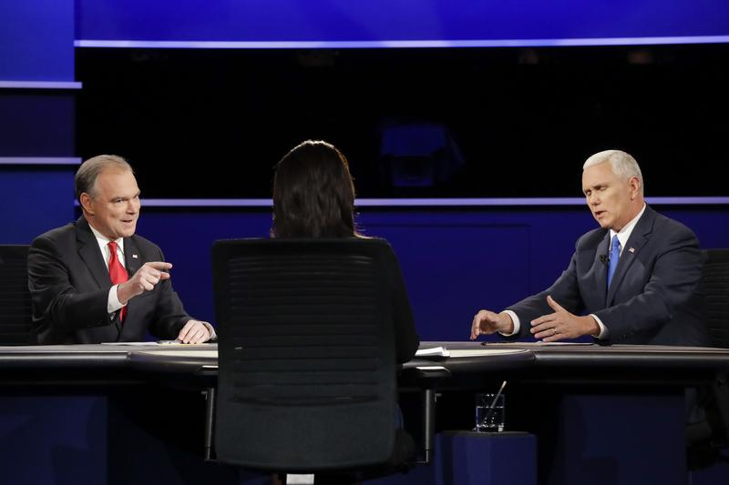 L to R: U.S. Senator Tim Kaine, Hillary Clinton's running mate, and Indian Governor Mike Pence, Donald Trump's VP pick, debating at Longwood University on October 04, 2016.