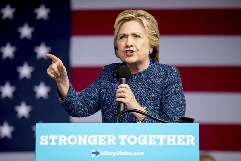 Democratic presidential candidate Hillary Clinton speaks at a rally at NewBo City Market in Cedar Rapids, Iowa, Friday, Oct. 28, 2016.