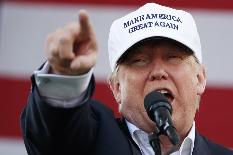 Republican presidential candidate Donald Trump speaks during a campaign rally in Miami.