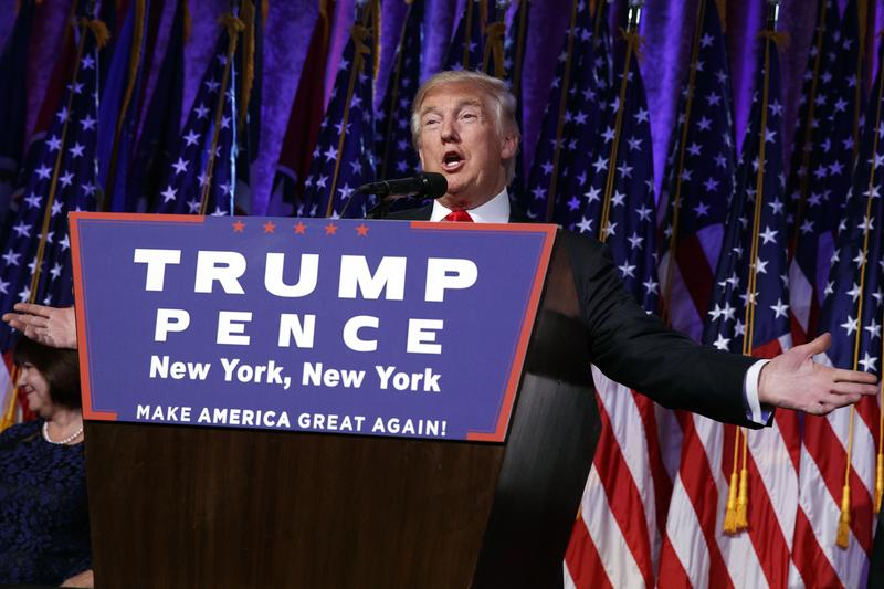 President-elect Donald Trump speaks during an election night rally, Wednesday, Nov. 9, 2016, in New York.