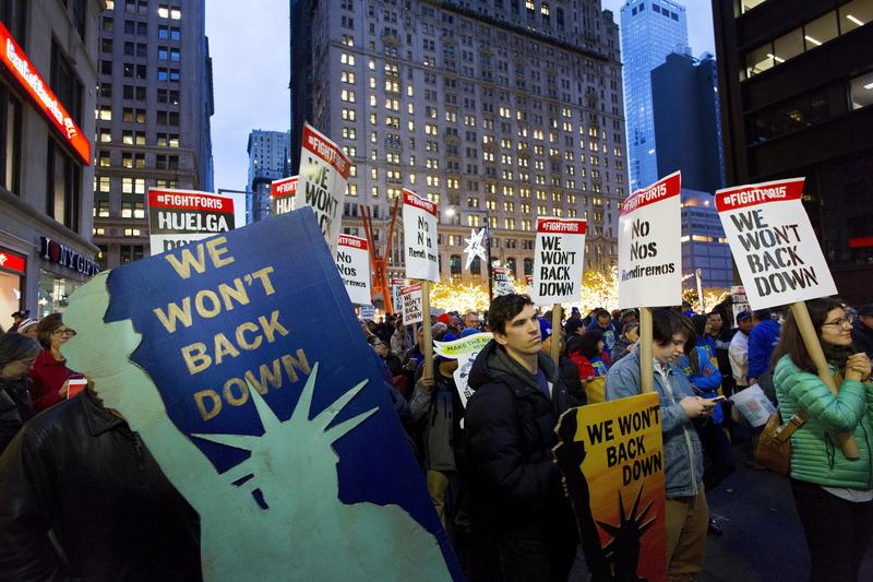 Protesters in front of a McDonald's in New York on Nov. 29, 2016, part of the National Day of Action to Fight for $15