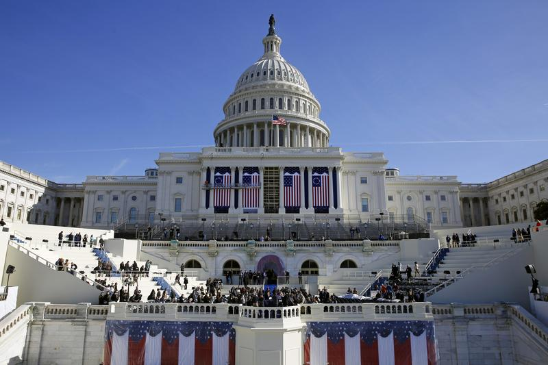 The U.S. Capitol looms over a stage during a rehearsal of President-elect Donald Trump's swearing-in ceremony.