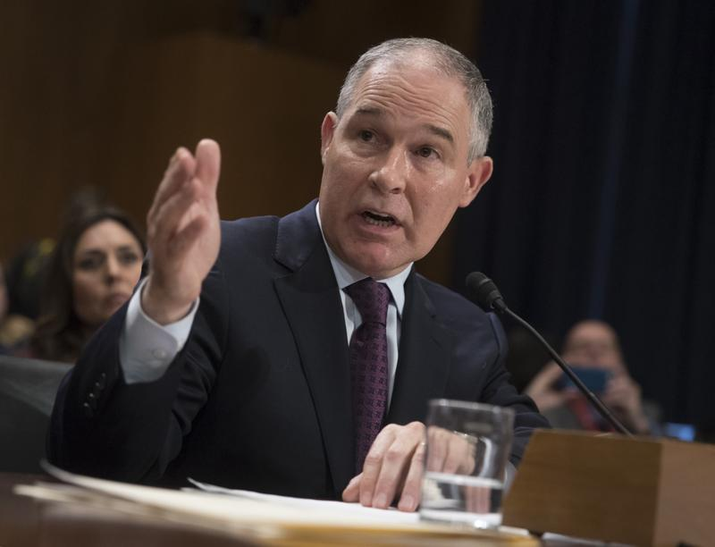 Environmental Protection Agency Administrator-designate, Oklahoma Attorney General Scott Pruitt testifies on Capitol Hill in Washington, Wednesday, Jan. 18, 2017.