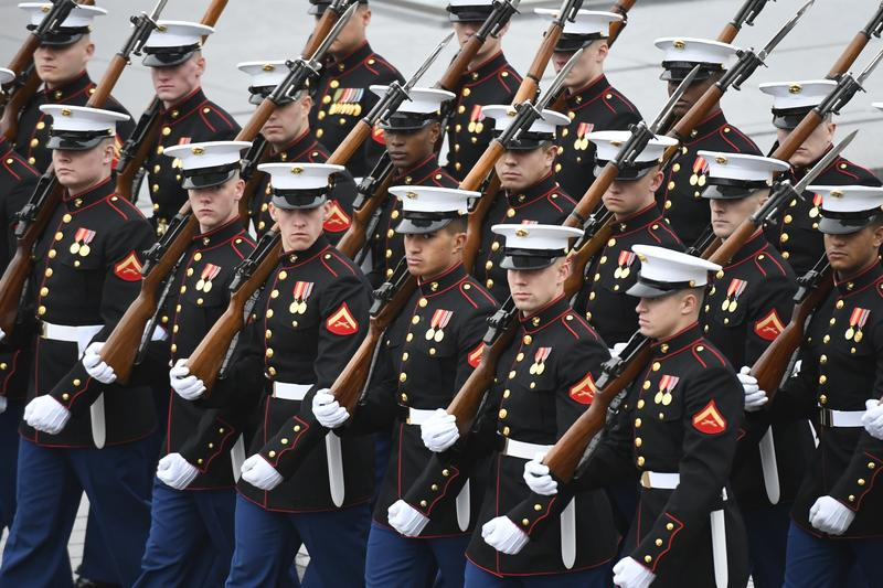 Members of the Marines march during the 2017 Presidential Inauguration at the U.S. Capitol.