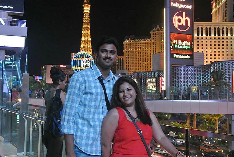 Srinivas Kuchibhotla, left, poses for photo with his wife Sunayana Dumala in Las Vegas. Kuchibhotal was killed after being shot in Kansas.