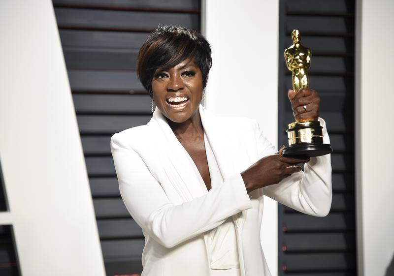 """Viola Davis, the award winner of actress in a supporting role for """"Fences"""", arrives at the Vanity Fair Oscar Party on Monday, Feb. 27, 2017, in Beverly Hills, Calif."""