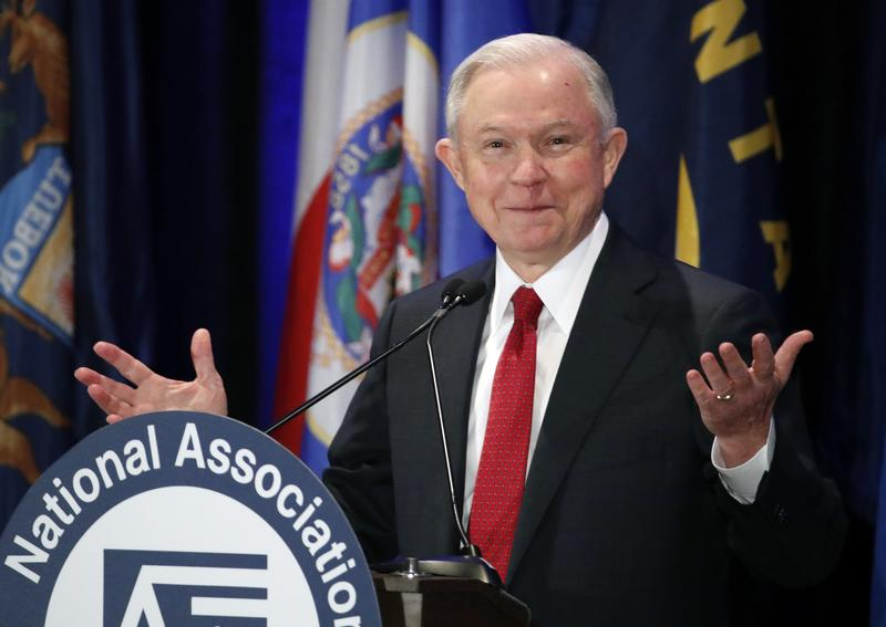 In this Feb. 28, 2017, photo, Attorney General Jeff Sessions pauses while speaking at the National Association of Attorneys General.