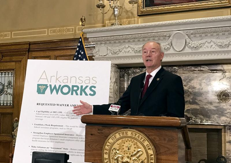 Arkansas Gov. Asa Hutchinson speaks during a news conference on Monday, March 6, 2017, in Little Rock, Ark.