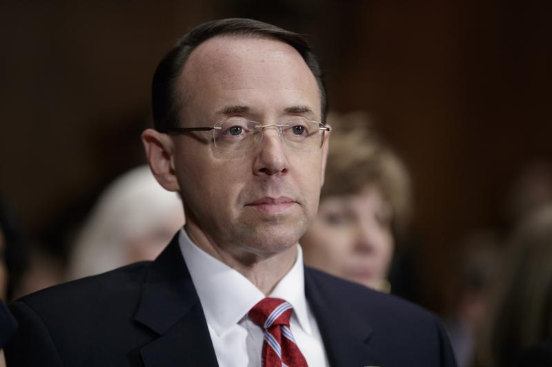 Deputy Attorney General-designate Rod Rosenstein listens on Capitol Hill in Washington, Tuesday, March 7, 2017, during his confirmation hearing before the Senate Judiciary Committee.