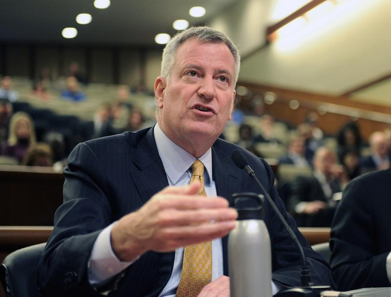 In this Jan. 30, 2017 file photo, New York City Mayor Bill de Blasio testifies during a joint legislative budget hearing on local government in Albany, N.Y.