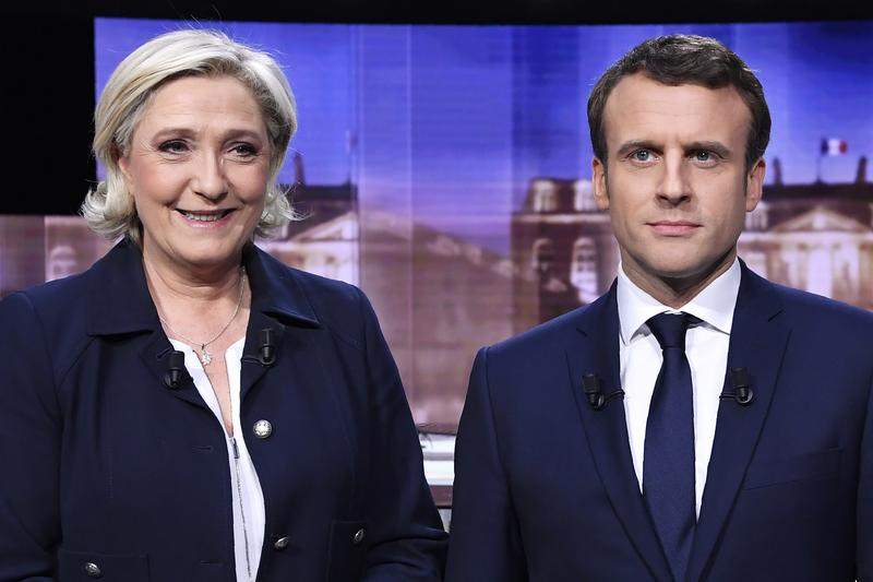 French presidential candidates Marine Le Pen and Emmanuel Macron.