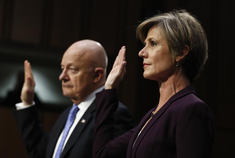 Former acting Attorney General Sally Yates, right, and former National Intelligence Director James Clapper, are sworn-in on Capitol Hill in Washington, Monday, May 8, 2017.