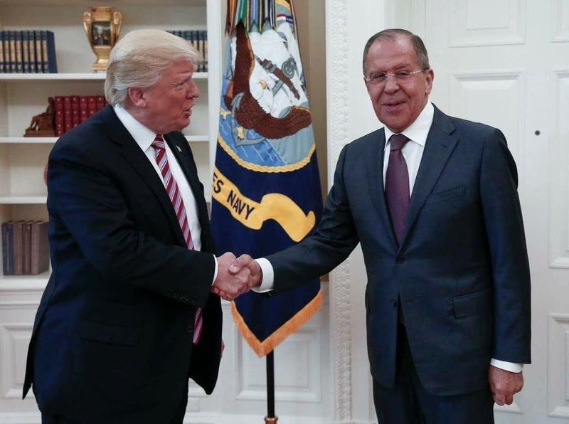 President Donald Trump met with Russian Foreign Minister Sergey Lavrov in the Oval Office of the White House in Washington, D.C., on May 10, 2017.