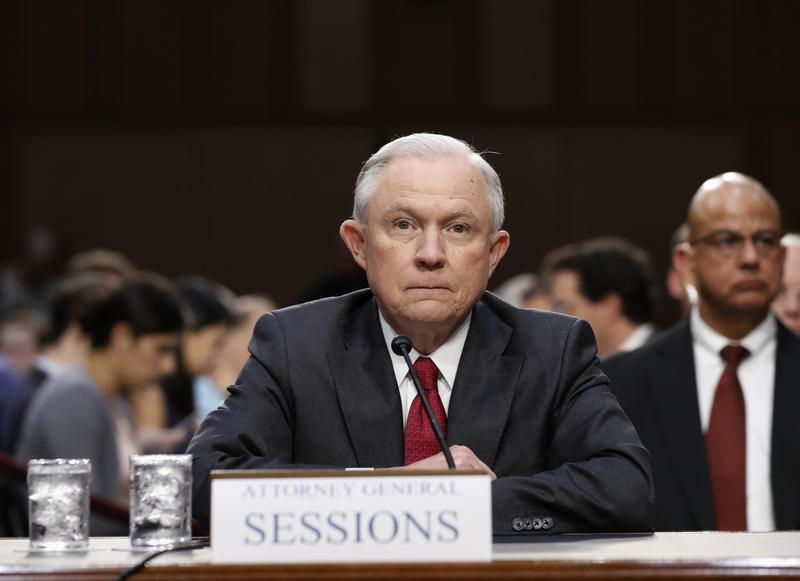 Attorney General Jeff Sessions prepares to testify on Capitol Hill in Washington, Tuesday, June 13, 2017.