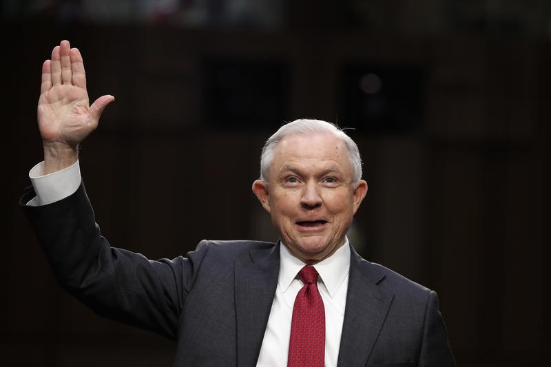 Attorney General Jeff Sessions is sworn-in on Capitol Hill in Washington, Tuesday, June 13, 2017.