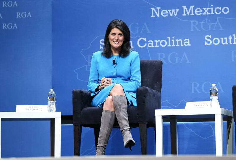 South Carolina Gov. Nikki Haley participates in a panel discussion during the Republican Governors Association annual conference Wednesday, Nov. 18, 2015, in Las Vegas.