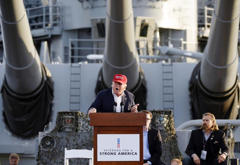 Republican presidential candidate Donald Trump speaks during a campaign event aboard the retired ship USS Iowa in Los Angeles. Sept. 15, 2015.