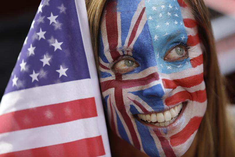 London resident Ulrika Nisser shows her support with opponents of U.S. Republican Candidate Donald Trump. Sept. 21, 2016