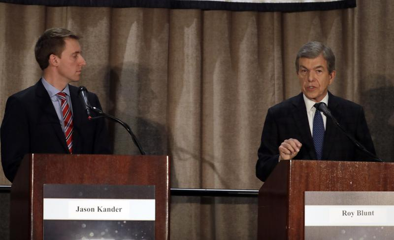 Sen. Roy Blunt, right, speaks along side Democratic challenger Jason Kander during the first general election debate in Missouri's race for U.S. Senate. Friday, Sept. 30, 2016