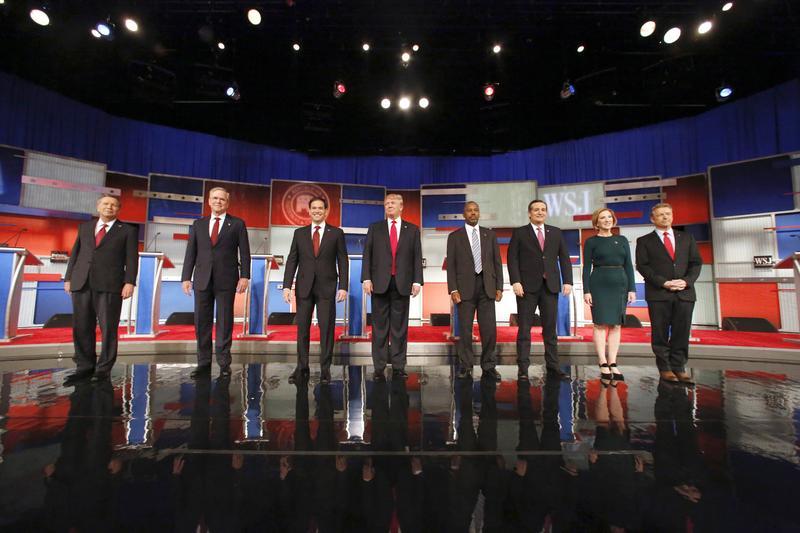 Republican presidential candidates John Kasich, Jeb Bush, Marco Rubio, Donald Trump, Ben Carson, Ted Cruz, Carly Fiorina and Rand Paul at a 2015 debate.