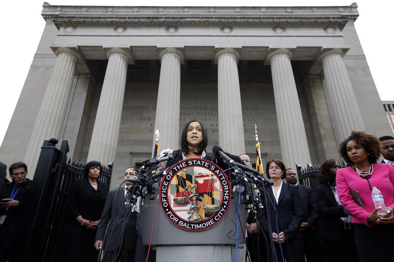 May 1, 2015: Marilyn Mosby, Baltimore's top prosecutor, speaks during a news conference in Baltimore.
