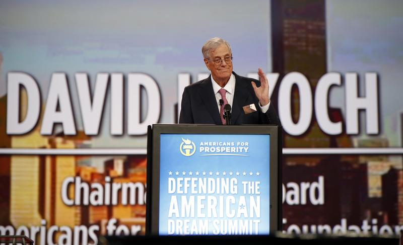 Chairman of the board of Americans for Prosperity David Koch speaks at the Defending the American Dream summit hosted by Americans for Prosperity at the Greater Columbus Convention Center in Columbus,