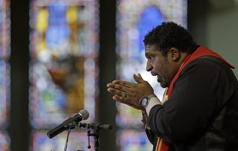 In this Wednesday, June 24, 2015 photo, Rev. William Barber, speaks during a Bible study at Pullen Memorial Baptist Church in Raleigh, N.C.