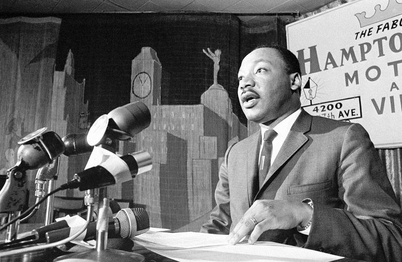 Dr. Martin Luther King urged in a press conference the Johnson administration consider prompt U.S. withdrawal from the Vietnam war, in Miami on April 13, 1966.