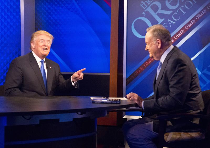"""Republican presidential candidate Donald Trump, left, speaks during his interview by Bill O'Reilly on Fox's news talk show """"The O'Reilly Factor,"""" Friday, Nov. 6, 2015."""