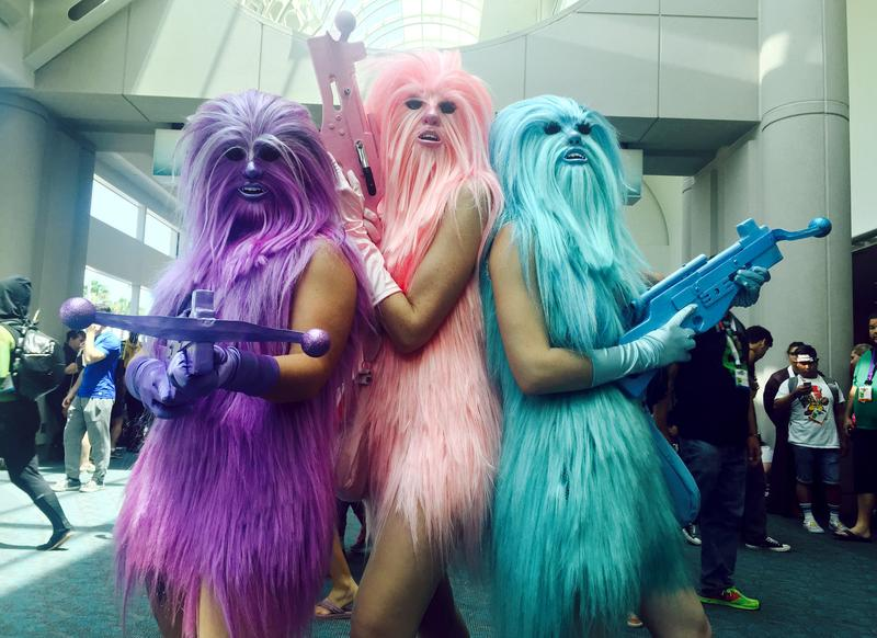 """Fans dressed as """"Chewie's Angels"""" attend day 2 of Comic-Con International on Friday, July 10, 2015, in San Diego, Calif."""