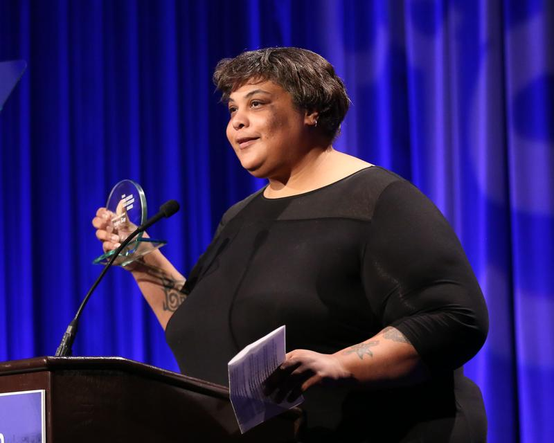 Roxane Gay accepts her Freedom to Write Award at the PEN Center USA's 25th Annual Literacy Awards Festival at the Beverly Wilshire Hotel on Monday, Nov. 16, 2015, in Beverly Hills, Calif.