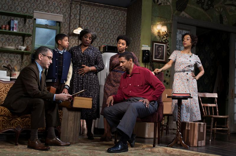 "David Cromer, Bryce Clyde Jenkins, LaTanya Richardson Jackson, Anika Noni Rose, Denzel Washington, Sophie Okenedo in Lorraine Hansberry's ""A Raisin in the Sun,"" at the Ethel Barrymore Theatre."