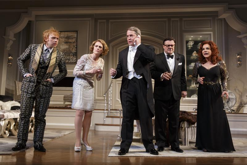 """Rupert Grint, Megan Mullally, Matthew Broderick, Nathan Lane, and Stockard Channing in a scene from Broadway's """"It's Only a Play"""""""