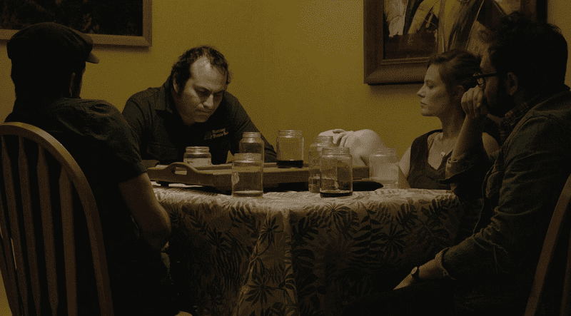 """Filmmakers Mike Ott and Nathan Silver talk to Arthur Martinez and Lindsay Burdge in the movie, """"Actor Martinez,"""" now screening at the Tribeca Film Festival."""