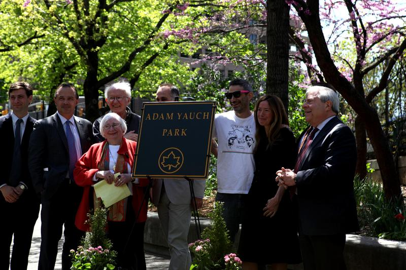 Beastie Boy Adam Horovitz (Ad-Rock), and the parents of the late rapper MCA at parks naming ceremony in Brooklyn Heights.