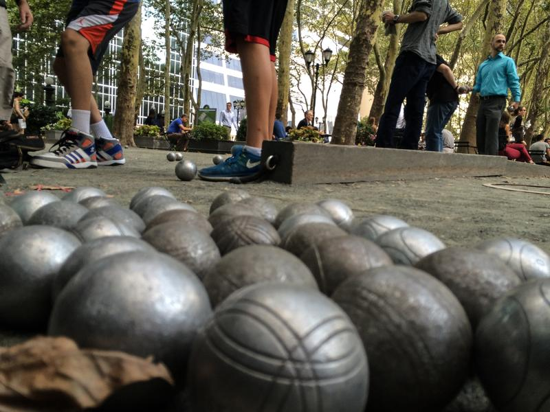 The French game Petanque, one of the city's summer treats, can be played in Bryant Park.